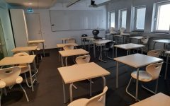 Empty classrooms when students work from home.